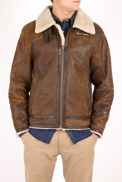 Mens Jofama Brown Shearling Flight Jacket