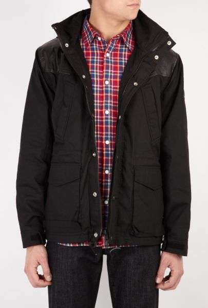 Mens Black Penfield Lakeville Leather Detail Parka