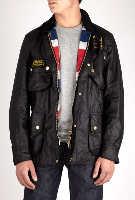 Mens Black Barbour Union Jack International Jacket