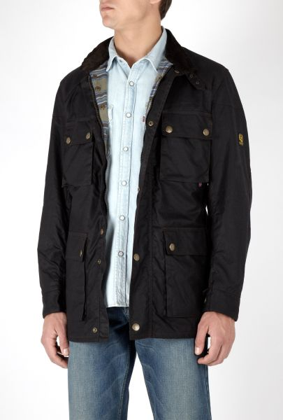 Mens Belstaff Black Waxed Cotton Roadmaster Jacket