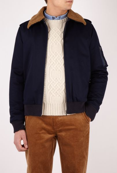 Mens APC Navy Sheepskin Collar Flight Bomber